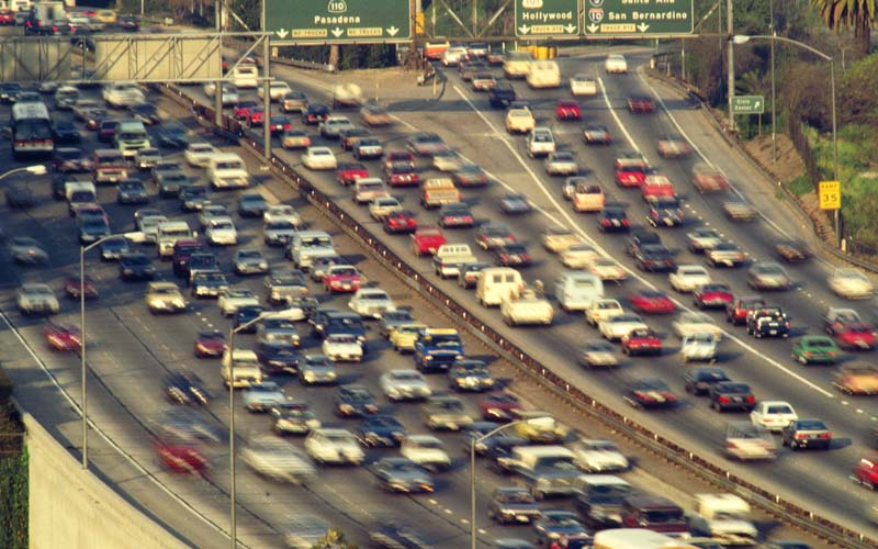 What should you avoid doing when you encounter heavy traffic